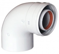 Отвод коаксиальный 45 градусов M/F D 60/100 для газовых котлов Ariston. Артикул 3318004