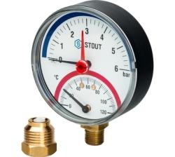 """Термоманометр STOUT аксиальный, корпус Dn 80 мм 1/2"""" (с авт. запорным клапаном) 10 бар"""