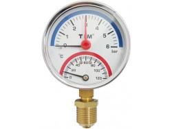 Термоманометр TIM радиальный 6 бар  (Y-80-6bar)